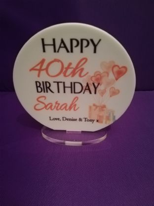 Any Age Pink Balloons Birthday Plaque
